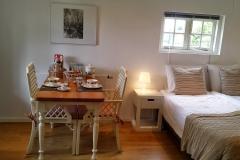 De tafel met het bed